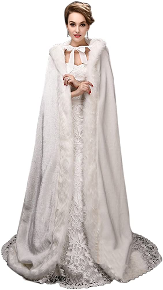 Eliffete Womens Long Faux fur Bridal Capes Wedding Shawl Hooded Stole for Winter