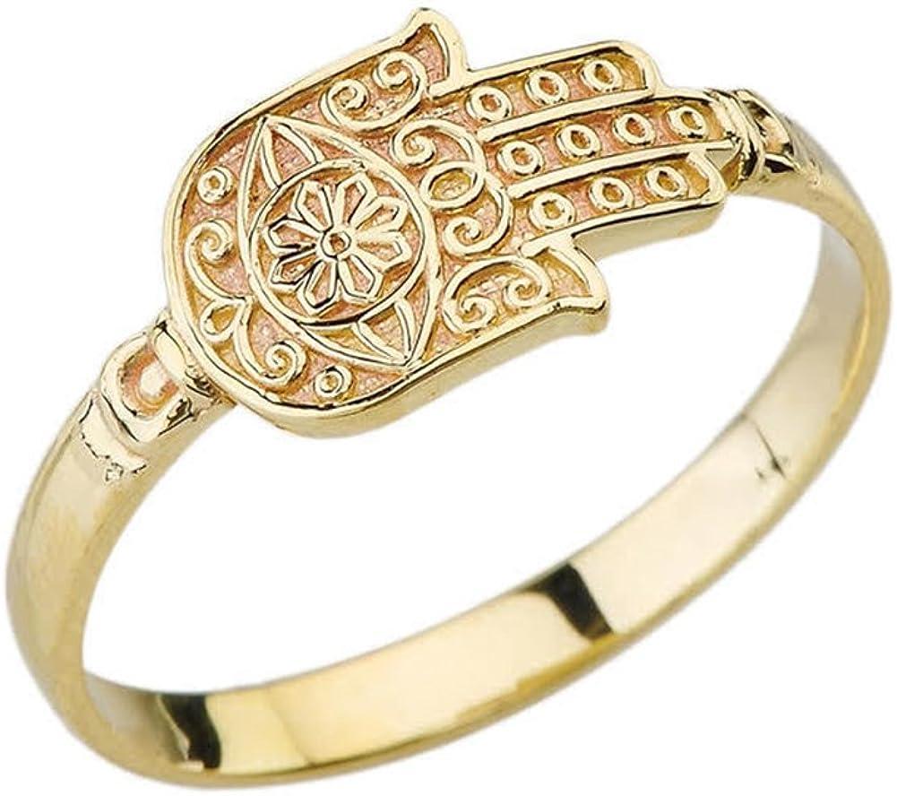 Elegant 10k Yellow Gold Evil Eye Sun of Hamsa Hand Ring