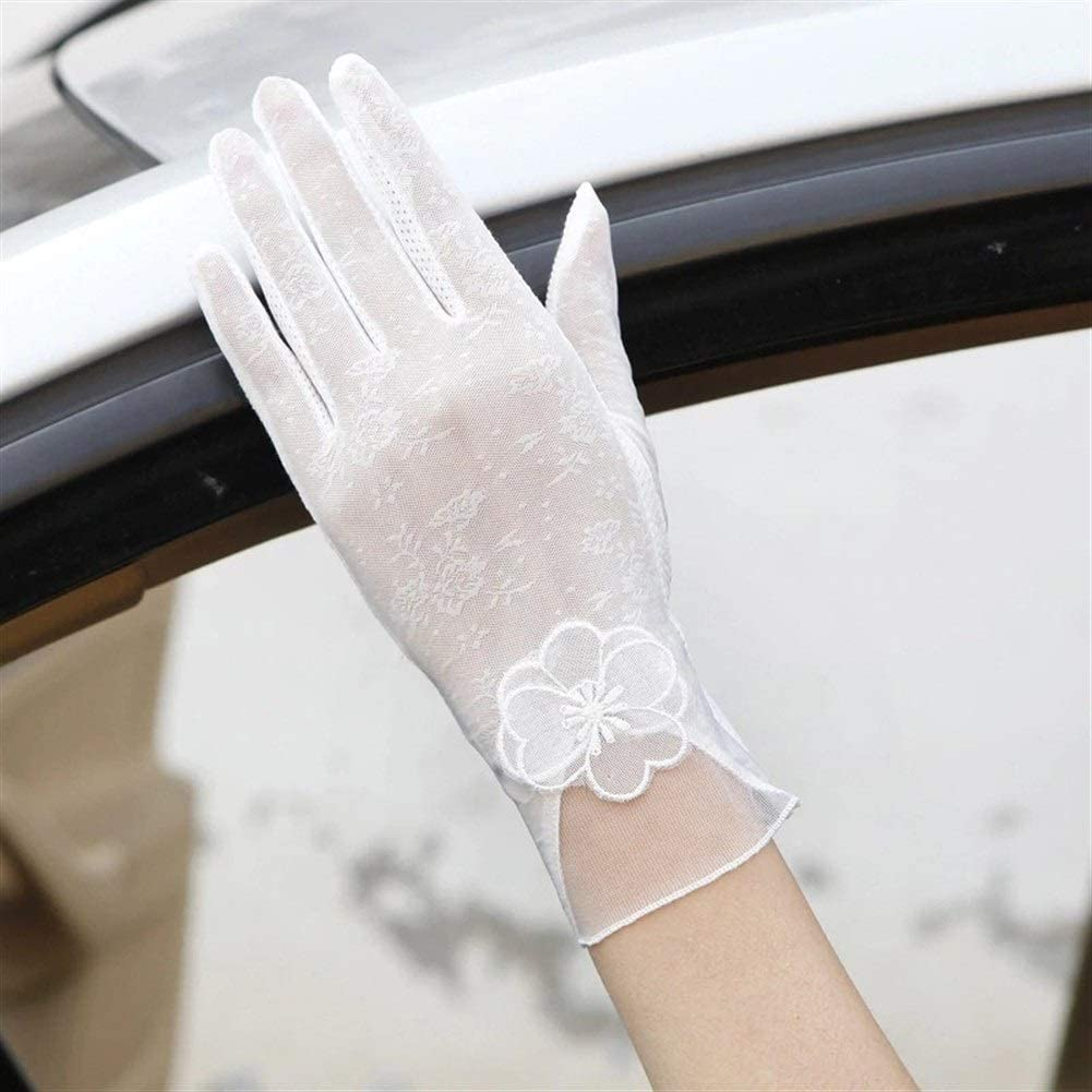 FASGION Sexy Spring Summer Women Autumn UV Sunscreen Short Sun Gloves Fashion Ice Silk Lace Driving of Thin Touch Screen Gloves (Color : White)