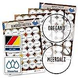 130 etiquetas adhesivas para especias – redondas – negro transparente – etiquetas autoadhesivas – resistentes al agua – pegatinas de especias – 38 mm – para tarros de especias, latas y estantes