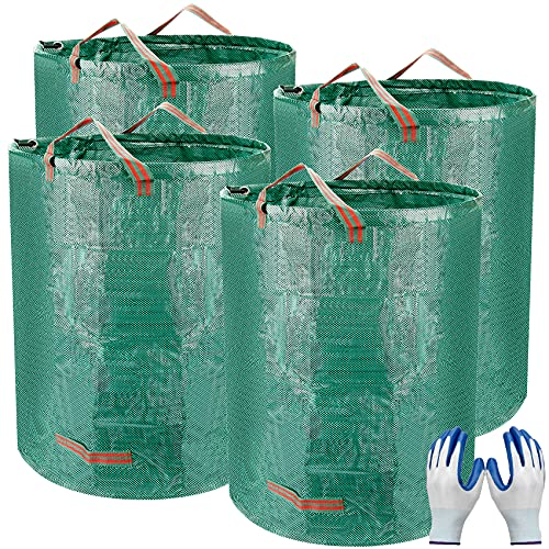 Colovis Garden Waste Bags, 4 Pack 80 Gallons Heavy Duty Gardening Bags with Coated Gardening Gloves Waterproof Reusable Lawn Pool Leaf Yard Waste Bags with 4 Handles