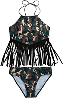 5eeebc95771a0 Ansenesna Damen Mode Bedruckt Bandage Fransen Push-Up Padded Mit  Brustpolster Bikini Set Camouflage Bademoden