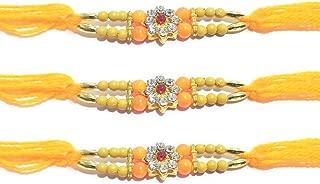IndiaBigShop Set of 2 Rakhi for Brothers Lord Krishna Design Rakhi with Stone Studded Multi Design Beads Rakhi Bracelet Multi Design and Assorted Color for Bhai