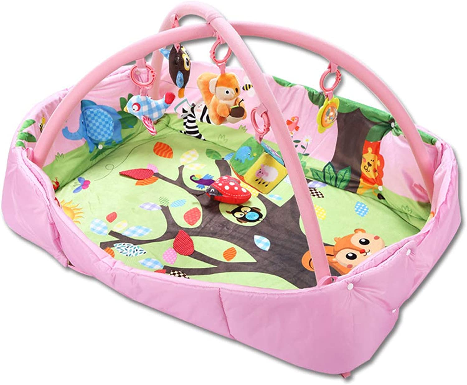 Baby Game pad, Rectangular Squirrel Foldable Portable 0-1 Years Old Puzzle Multi-Function Toy Baby Fitness Rack Crawling mat Game Blanket, Suitable for Bedroom Living Room Baby Room