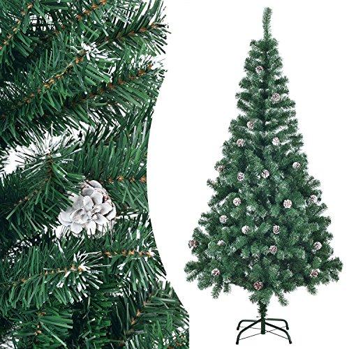 Juskys Weihnachtsbaum künstlich mit Schnee & Ständer | 180 cm | naturgetreue Nadeln | grün mit weiß | Tannenbaum Christbaum Weihnachtsdeko