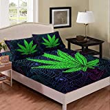 Cannabis Leaf Comforter Set 3 Pcs, Marijuana Leaf Sheet Set Green Weed Bedding Set Trippy Leaves Herb Bed Set Bohemian Style, Decorative 3 Piece Bedding Set with 2 Pillow Shams, Queen Size