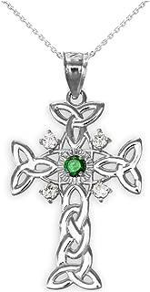 14k White Gold Trinity Knot Diamond Celtic Cross Pendant Necklace with Genuine Emerald