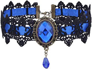 Retro Handmade Gothic Royal Court Velvet Blue Crystal Lace Choker Necklace Bohemia Lace Tattoo Collar Choker Necklace
