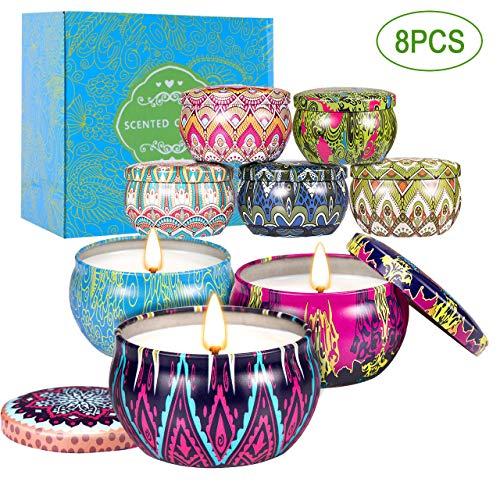 Juego de velas perfumadas de-con fragancia de aceite esencial Velas Aromaticas para Baño Yoga SPA para Festival y Bodas Aromaterapia(8 Piezas)