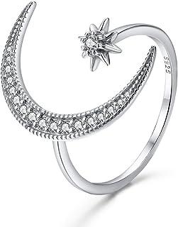 Bamos Patron Saint Series Jewelry Goddess Adjustable Moon Star Ring for Women and Girls