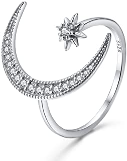 Patron Saint Series Jewelry Goddess Adjustable Moon Star Ring for Women and Girls