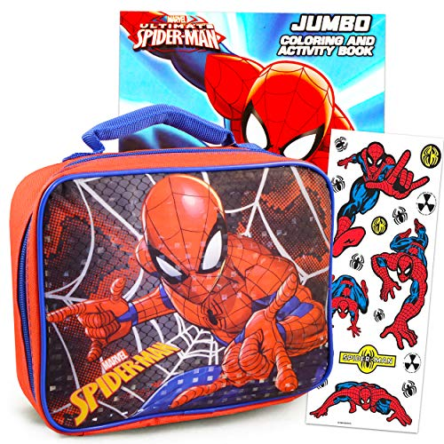 Spiderman Lunch Box Travel Activity Set ~ Insulated Spiderman Lunch Bag with Spiderman Coloring Book and Stickers for Boys Girls Kids (Spiderman School Supplies Bundle)