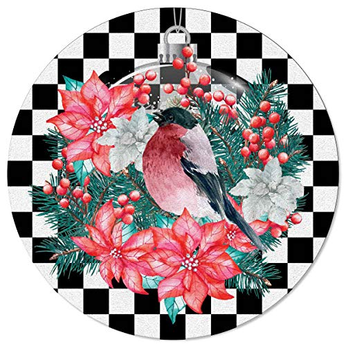Ta-Home Non Skid Round Area Rugs 3ft Christmas Berry Robin Bird Flower Indoor Washable Carpets Floor Mats for Living Room, Nursery, Bedroom, Study, White Black Plaid