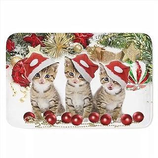 Cumagical Christmas Cat Decorative Rug,Indoor Outdoor Doormat Non Slip,Holiday Decoration Welcome Mats,Soft Flannel Floor ...