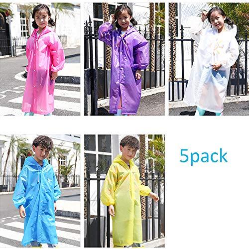 5 stuks wegwerp-noodponcho voor kinderen, veelkleurige, dikke regenjas met waterdichte kap, draagbare waterdichte regenkleding voor buiten, geschikt voor wandelen en kamperen.