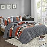 Comfort Spaces 2 Piece Quilt Coverlet Bedspread All Season Lightweight Hypoallergenic Pipeline Colorblock Kids Bedding Set, Twin/Twin XL, Pierre Grey Orange Stripe