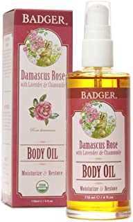 Badger - Body Oil, Damascus Rose, Certified Organic Body Oil, Natural Body Oil, Skincare Oil, Body Oil Organic, After Shower Body Oil, Body Oil for Women, Moisturizer Body Oil, 4 oz