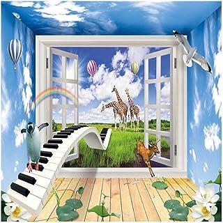 Accessoires de vie effet 3D fenêtre paysage créatif enfants chambre décor Mural monde animal enfants chambre chambre fond ...