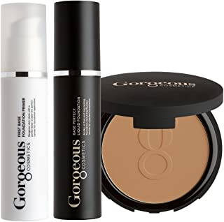 Gorgeous Cosmetics Complexion Perfection Foundation Makeup Kit, with Full Size Liquid Foundation, Powder Foundation and Makeup Primer, Shade - Skin Tone Tan