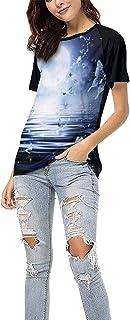 Tops de Camiseta Casual para Mujer Moon Butterflies Stars Glitter ArtCamiseta de béisbol para niñas Ropa Camisas de Manga Corta,M