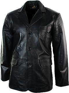 Giacca Nera Lunga da Uomo in Vera Pelle Stile Blazer Classico Retro Vintage nero