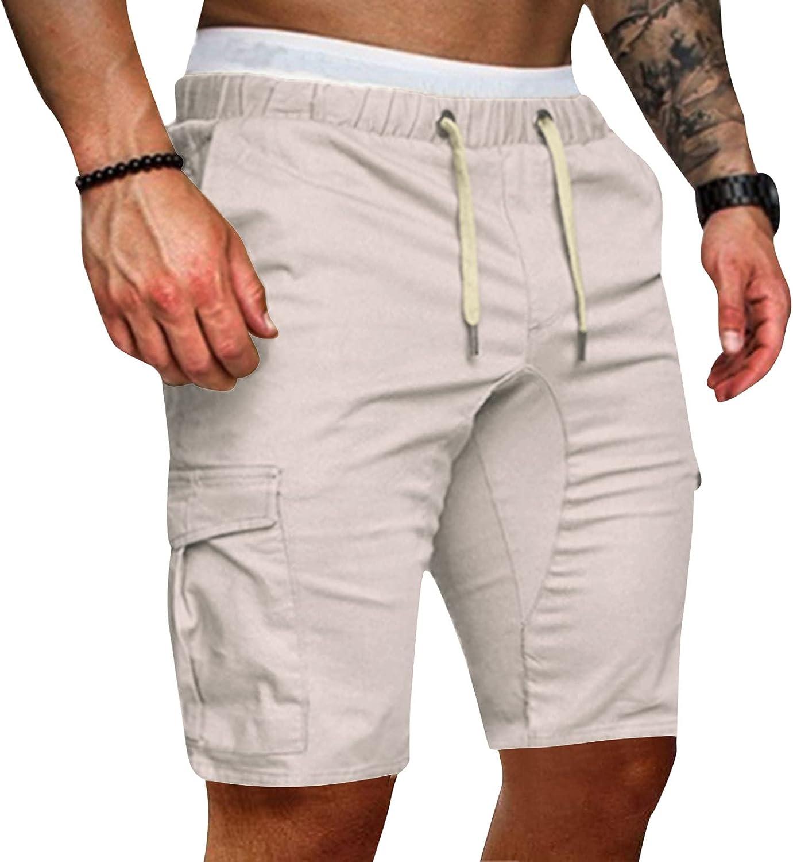 LEIYAN Mens Work Cargo Shorts Casual Elastic Waist Drawstring Slim Fit 5 Inch Inseam Quick Dry Swim Shorts with Pockets