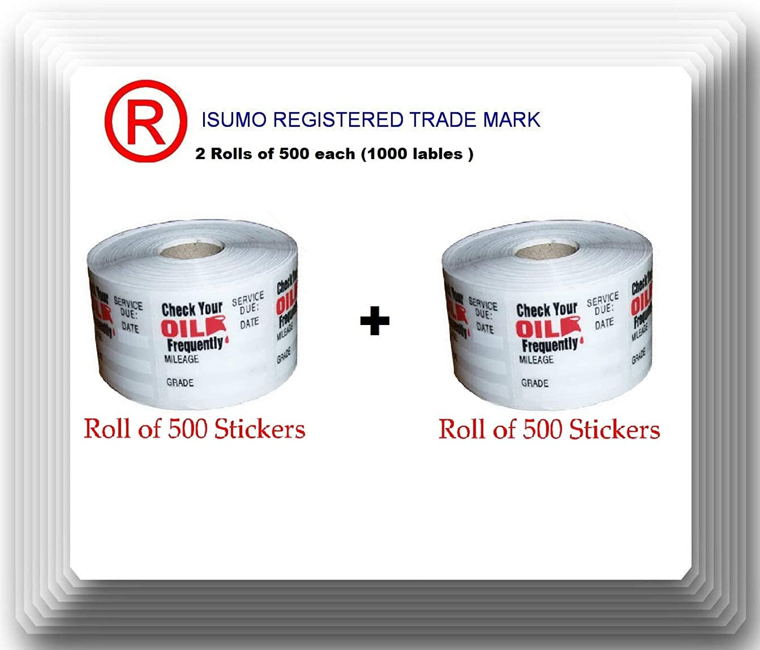 ISUMO 2 Rolls of 500 Each. Oil Change Service Reminder Stickers 1000 Stickers Quality Guaranteed (1 Roll of 500 Stickers) (2)