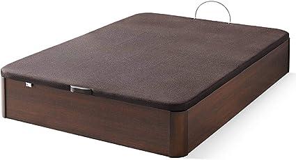 Canapé de madera con BASE TAPIZADA, laterales de 35 MM, punteras de MADERA DE HAYA, gran capacidad, medida 90x190CM, color wengue.