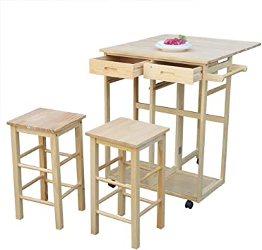 Amazon Com Mtfy Kitchen Island With Seating Table Small Kitchen Table With Rolling Casters Dining Table Set With Folding Drop Leaf 2 Drawers Small Kitchen Table Set For 2 Square Stools Square