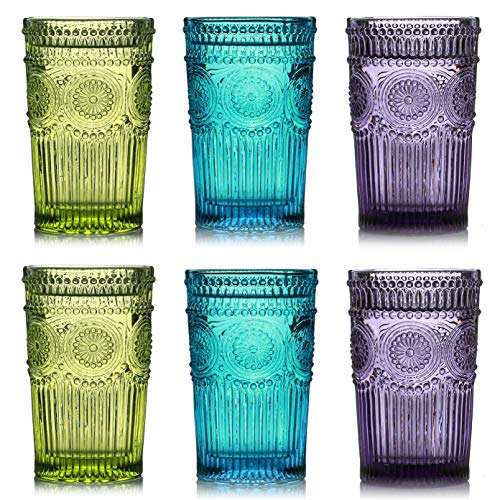 Kingrol 6 Pack Vintage Drinking Glasses, 12 oz Embossed Romantic Water Glassware, Glass Tumbler Set for Juice, Beverages, Beer, Cocktail