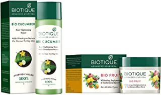 Biotique Bio Cucumber Pore Tightening Toner, 120ml and Biotique Bio Fruit Whitening And Depigmentation & Tan Removal Face Pack, 75g