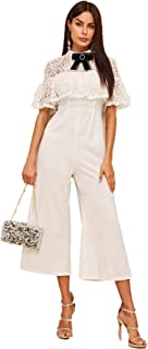 Women's Short Sleeve Bow Tie Neck Contrast Lace Palazzo Jumpsuit