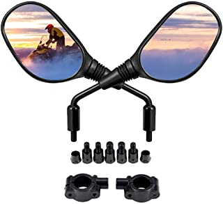 kemimoto ATV and Motorcycle Rear View Mirrors for 7/8 Inch Handlebars, 360 Degrees Ball-Type Adjustment, 8MM and 10MM Screws Compatible with Sportsman Scrambler FourTrax Snowmobile Bicycle