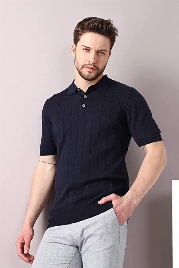 1940s Men's Shirts, Sweaters, Vests Jack Martin - Ribbed Knitted Polo Shirt - Mens Cotton Knit Shirts $45.00 AT vintagedancer.com