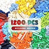 lekebaby bricks, mattoncini classici da costruzione, 1200 pezzi, compatibili con tutte le principali marche