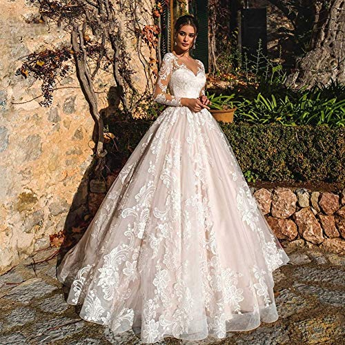 WANGMEILING Vestido de novia blanco Vestido de novia de la princesa de la boda larga de la manga vestidos de playa Una línea romántica apliques de tul botón (Color : Multi, US Size : 20W)