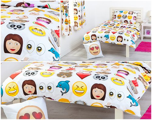 Ready Steady Bed Emoji Emoticons Design Children's Single Size Duvet Cover Set with Pillowcase