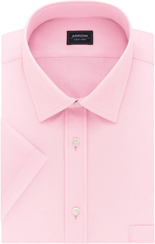 Arrow Mens Regular Fit Short Sleeve Dress Shirt Pink Spread Collar