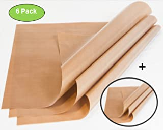 Zuitcase 6-Pack Telfon Sheet for Heat Press – 5MM Thickness is 3X Thicker than Standard PTFE Craft Mats, Brown 16 x 20, Heavy Duty Non-Stick Liner, Great Polymer Clay Sheet, Rubber Stamping Supplies