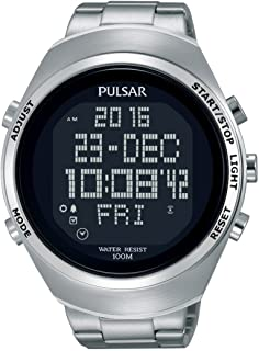 Pulsar x Mens Digital Quartz Watch with Stainless Steel bracelet PQ2055X1