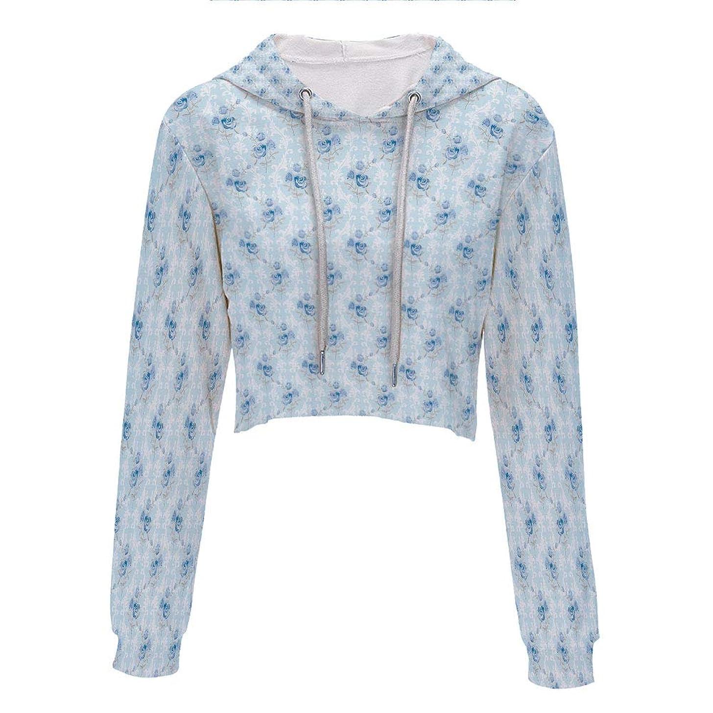 Hooded Sweatshirt Hip hop Clothing for Women S/M Light Blue WhiteClassic Polka