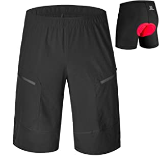 qualidyne MTB Shorts Men's Mountain Bike Shorts with 3D Padded Underwear Loose Baggy Cycling Shorts