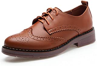 WUIWUIYU - Zapatos de mujer británicos de estilo Oxford con cordones