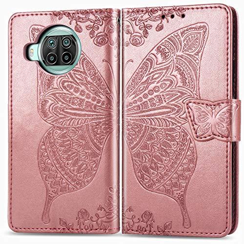 ZTOFERA Flip Hülle für Xiaomi Mi 10T Lite, Schmetterlings-Prägemuster Brieftasche mit [Magnetverschluss] [Kartenfächer] [Ständer] [Handschlaufe], Slim Hülle für Xiaomi 10T Lite - Roségold