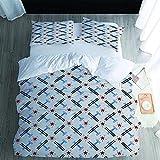 UWKDEK Einzelbett Bettwäsche Set Flugzeug fünfzackiger Stern 3D Bedruckte Bettwäsche Set 3-Teiliges Polyester mit Reißverschluss 1 Bettbezug & 1 Kissenbezug, 135cm W x 200cm H