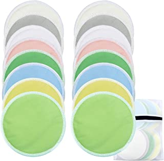 Nursing Pads Set 3 Layers 4.7inch Bamboo Washable Breast Pads Reusable Soft Absorbent Breast Feeding Bra Nipple Covers with 1pc Laundry Mesh Bag 8 Pairs 16pcs