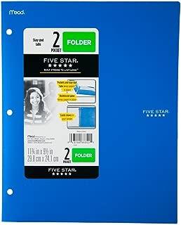 Five Star 2 - Pocket Folder, Stay-Put Tabs, Plastic,(38060) (BLUE)