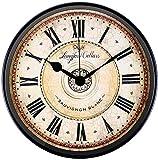 Attoe Wanduhr, 30 cm Metall Wanduhr Europäischen Stil Retro Vintage Uhr Nicht Ticken Ruhig Batteriebetrieben mit HD Glas Leicht zu Lesen für Inneneinrichtung/Wohnzimmer/Küche/Schlafzimmer (Rom)