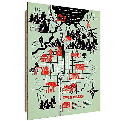 Feeby. Wandbilder - 1 Teilig- 40x60 cm - Bilder Kunstdrucke Deko Panel, Twin Peaks Map - Robert Farkas, Landkarte, Illustration, SCHWARZ