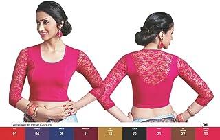 Damen Designer Crope Top Frauen Choli Indian Lycra-Stretchable Prêt Saree Bluse Hochzeit Best Match für Saree von Thnic Emporium Wear 28 bis 42 Rosa